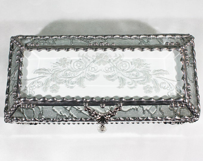 Victorian, Flower, Jewelry Box,Eyeglass case, Glass Art, Faberge Style, Beveled Glass, Stained Glass