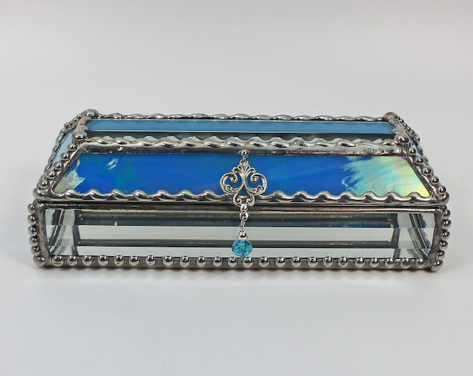 Eye Glass Case, stained glass box, glass box, trinket box, treasure box, Faberge Style, Beveled Glass, Made in USA