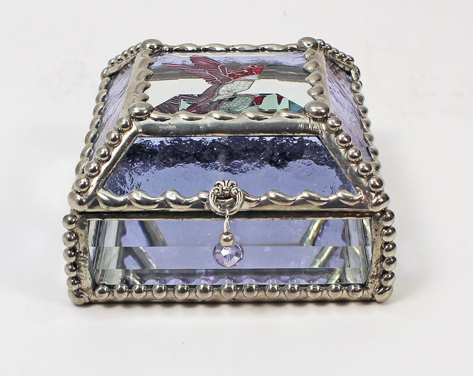 Hummingbird Hand Painted, Carved Glass, Jewelry Box, Glass Art, Beveled Glass, Faberge Style, Beveled Glass, Made in USA