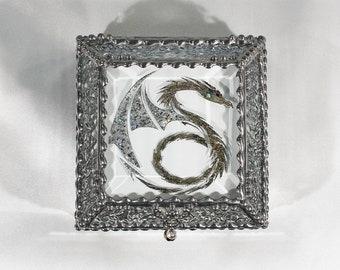 Dragon, Stained Glass, Celtic, Keepsake Box, Jewelry Box, Faberge Style, Treasure Box, Trinket Box, Desk Accessory