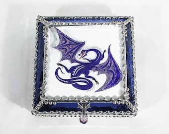 Dragon, art glass, stained glass, display box, jewelry box, souvenir, hand painted