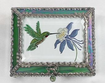 Hummingbird Jewelry Box, Faberge Style, Trinket Box, Columbine