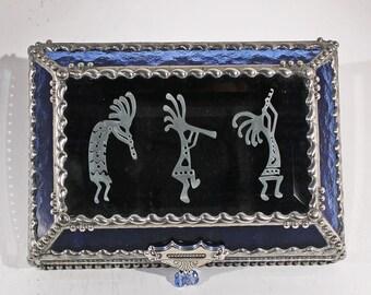Kokopelli, treasure box, Indian, Native American, Petroglyph, Fertility symbol, Souvenir Box, Memorabilia Case, Stained Glass
