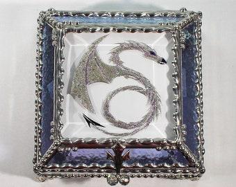 Dragon, Hand Painted, Stained Glass, Keepsake Box,Jewelry Box, Faberge Style, Treasure Box