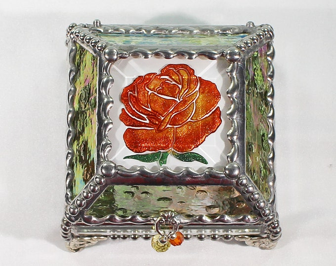 Rose, Hand Painted, Stained Glass, Keepsake Box,Jewelry Box, Faberge Style, Treasure Box