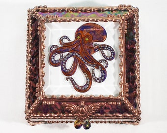 Octopus, Hand Painted, Stained Glass, Keepsake Box,Jewelry Box, Faberge Style, Treasure Box