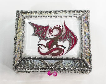 Dragon, Stained Glass, Keepsake Box,Jewelry Box, Faberge Style, Treasure Box