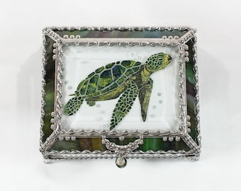 Sea Turtle, Glass Art, Turtle, Keepsake Box,Hand Painted, Faberge Style, Treasure Box