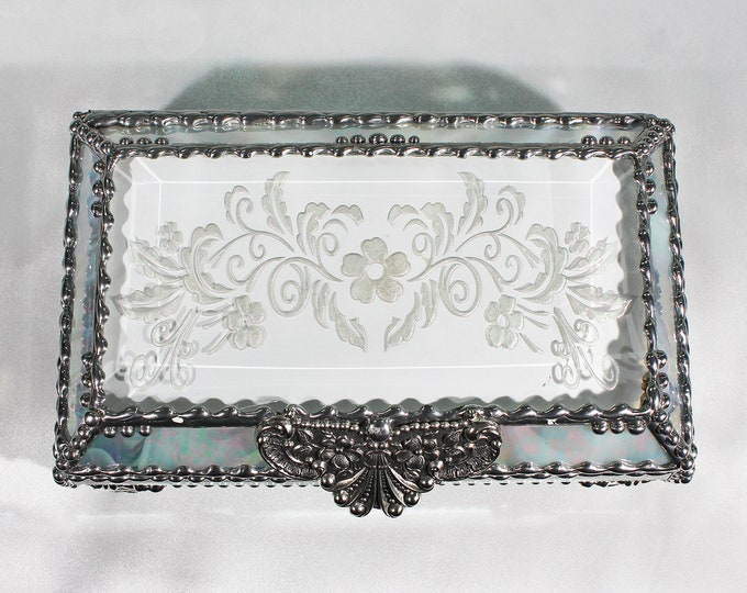 Victorian, Flower, Jewelry Box, Glass Art, Faberge Style, Beveled Glass, Stained Glass