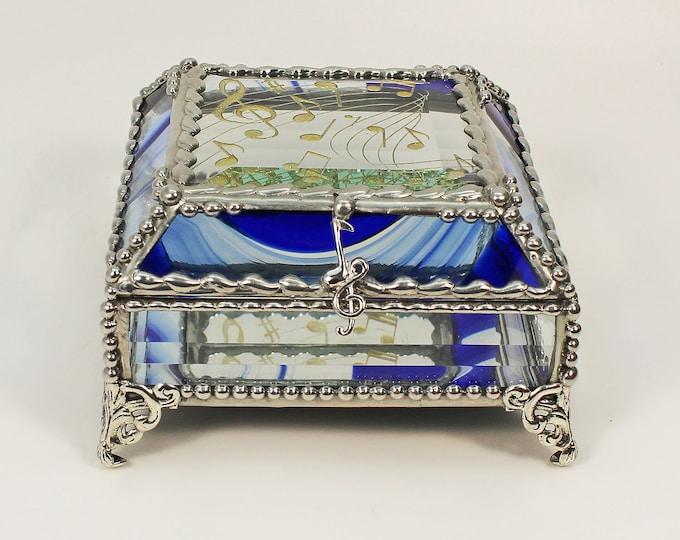 Musical Note, Music, hand painted Glass Treasure Box, Stained Glass Jewelry Box, Trinket Box, Glass Box, Treasure Box, Faberge Style