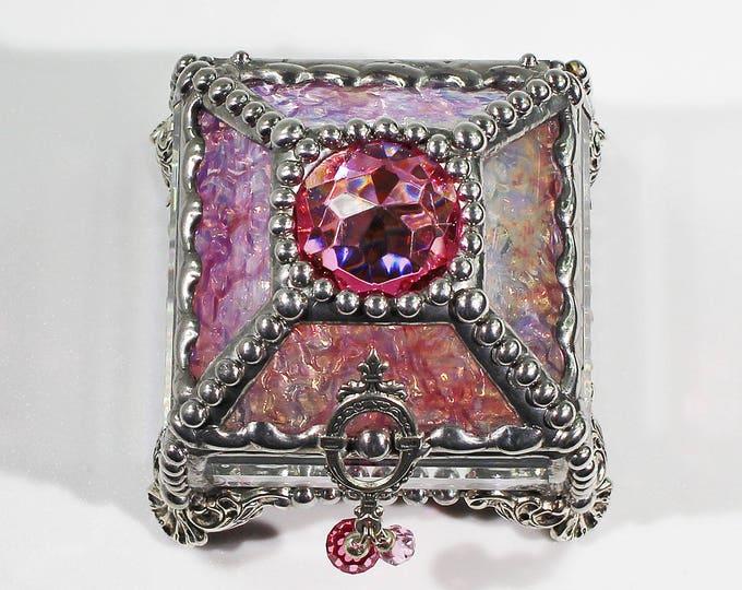 Glass Jewel, Ring Box, Engagement Ring Box, Presentation Box, Wedding Box, Fabrege Style, Treasure box, Beveled