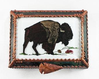 Buffalo, Bison, Hand Painted, Stained Glass, Keepsake Box,Jewelry Box, Faberge Style, Treasure Box