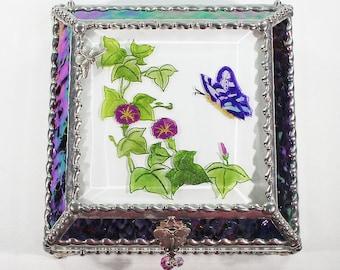 Butterfly, Morning Glory, Hand Painted, Stained Glass, Keepsake Box,Jewelry Box, Faberge Style, Treasure Box