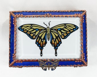 Butterfly, Jewelry Box, Glass Art, Faberge Style, Beveled Glass, Stained Glass
