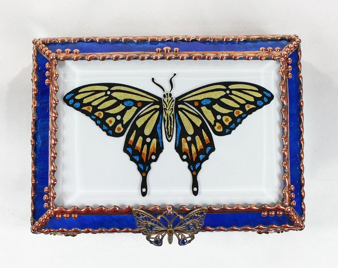 Featured listing image: Butterfly, Jewelry Box, Glass Art, Faberge Style, Beveled Glass, Stained Glass