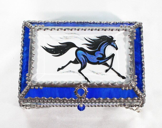 Horse, Equine, Treasure Box, stained glass box, stained glass, display box, jewelry box, , souvenir, mystic