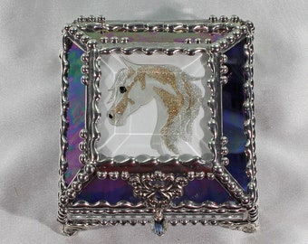 Horse, Equine Etched hand painted Glass Treasure Box, Jewelry Box, Trinket Box, Glass Box, Treasure Box, Faberge Style