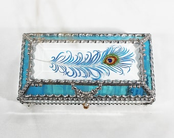 Peacock, Feather, Jewelry Box, EyeGlass Case , Jewelry Box, Glass Art,, Faberge Style, Beveled Glass, Made in USA