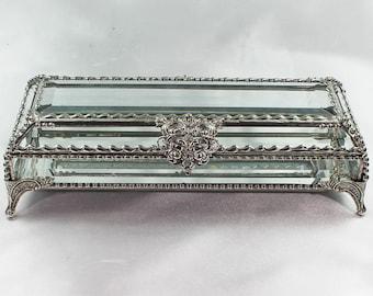 Crystal Box, Wedding Display, stained glass box, wedding ring presentation display box, jewelry box, , souvenir keepsake box, flower box