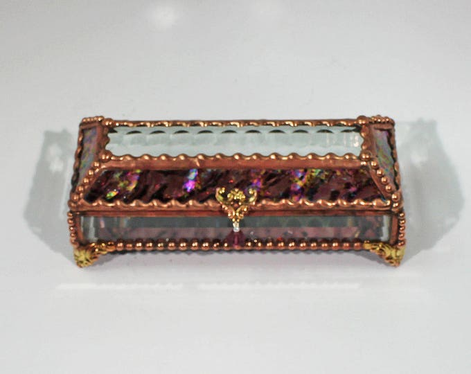 Eye Glass Case, stained glass box, glass box, trinket box, treasure box