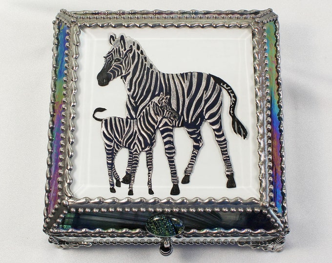 Zebra, Hand Painted, Stained Glass Box, Trinket Box, , Etched, Faberge Style
