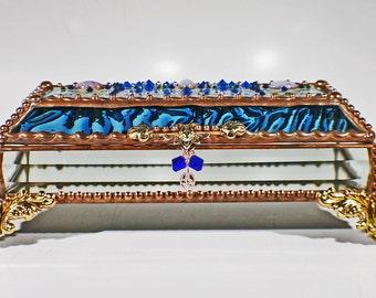 Jewel Encrusted Treasure Jewelry Box, Stained Glass, Desk Accessory, Trinket Box, Eye Glass Case, Vintage Glass Jewels, Swarovski Crystals