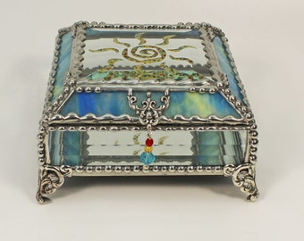 Sun Fetish, Native American, hand painted Glass Treasure Box, Stained Glass Jewelry Box, Trinket Box, Glass Box, Treasure Box, Faberge Style
