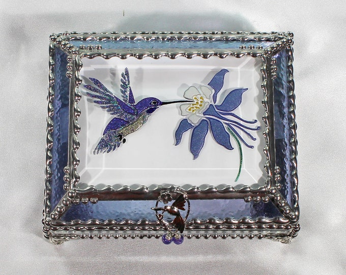 Hummingbird Jewelry Box, Faberge Style, Trinket Box, Columbine, Stained Glass