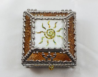 Sun Fetish, Native American,  Etched hand painted Glass Treasure Box, Jewelry Box, Trinket Box, Glass Box, Treasure Box, Faberge Style