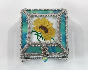 Sunflower,Stained Glass, Keepsake Box,Jewelry Box, Faberge Style, Treasure Box, Flowers