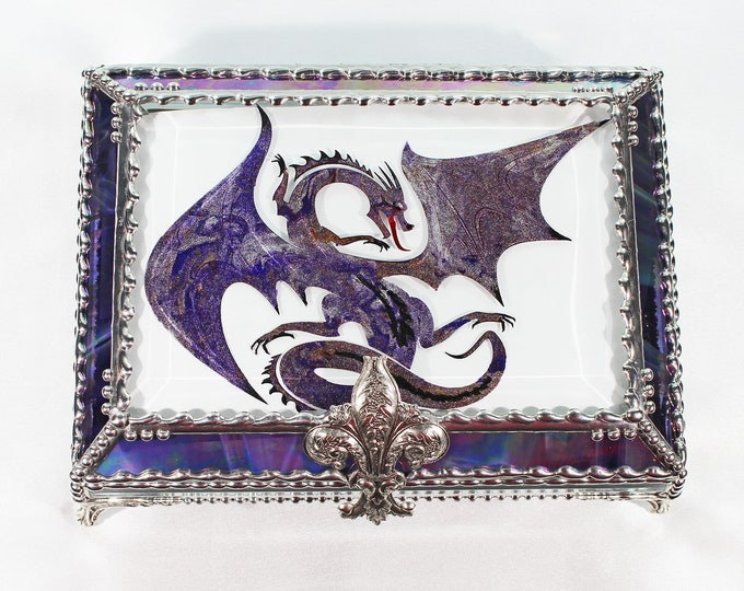 DRAGON, Treasure Box, stained glass box, stained glass, display box, jewelry box, , souvenir, mystic
