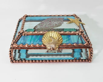 Sea Shell, Etched, Hand Painted, Stained Glass Box, Jewelry Box, Gift Box, Memory Box,  Keepsake, Made in the USA, Brass Shell, Starfish