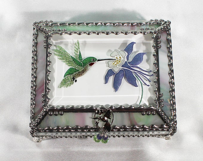 Hummingbird Jewelry Box, Faberge Style, Trinket Box, Columbine, Stained Glass