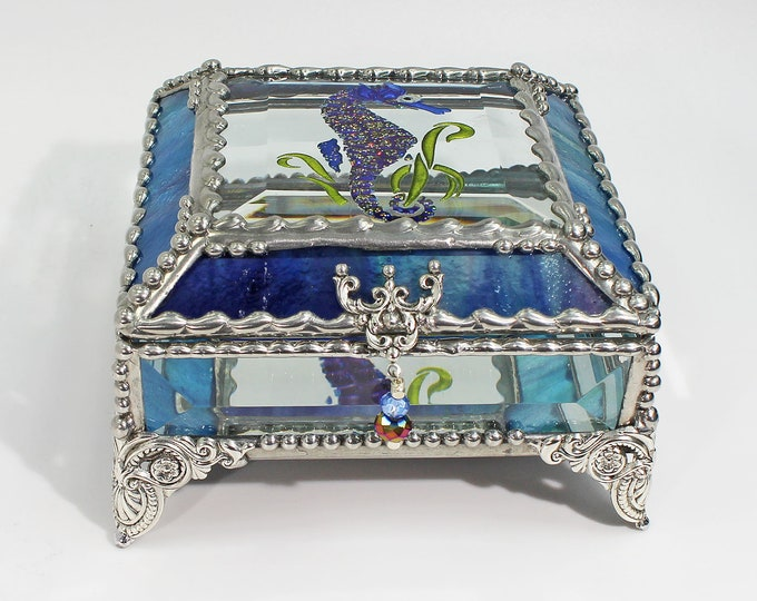 Seahorse Carved Glass Jewelry Box, Hand painted Etched Glass, Swarovski crystals, Stained Glass, Glass Art, Beveled Glass, Made in the USA