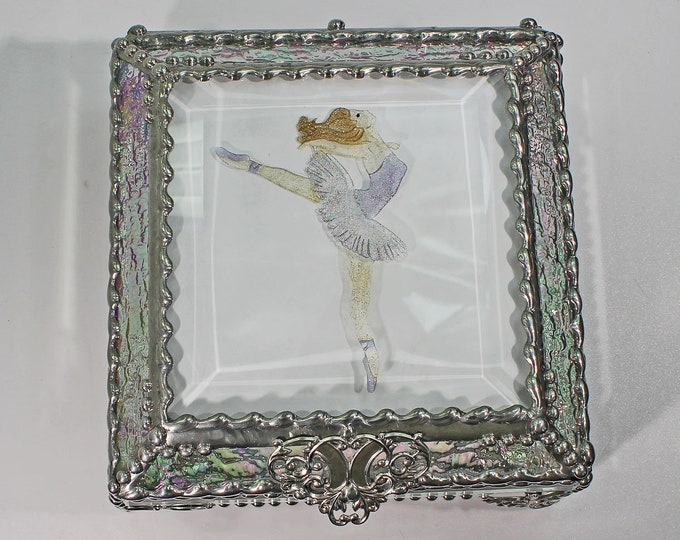 Ballerina, Dance, Treasure Box, stained glass box, stained glass, display box, jewelry box, , souvenir, mystic