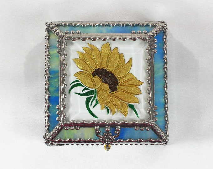 Featured listing image: Sunflower,Stained Glass, Keepsake Box,Jewelry Box, Faberge Style, Treasure Box, Flowers