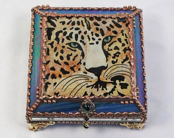 Leopard, Hand Painted, Stained Glass Box, Trinket Box, , Etched, Faberge Style