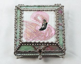 Flamingo, Hand Painted, Stained Glass Box, Trinket Box, Etched, Faberge Style