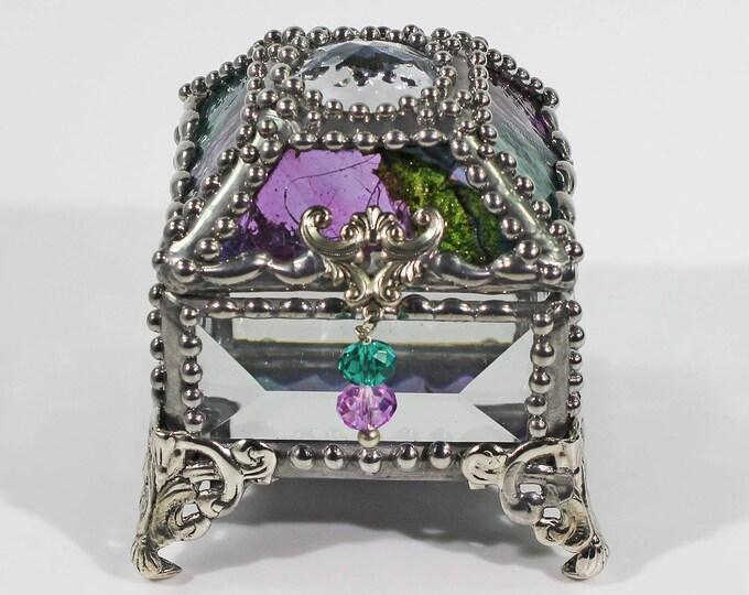 Glass Jewel, Ring Box, Engagement Ring Box, Presentation Box, Wedding Box, Faberge Style, Beveled, Made in the USA, Swarovski crystals