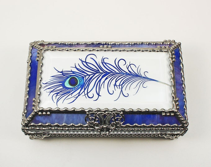 Peacock Feather Hand Painted, Carved Glass, Jewelry Box, Glass Art, Beveled Glass, Faberge Style, Beveled Glass, Made in USA