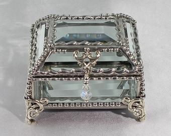 Crystal Box, Wedding Display, stained glass box, wedding ring presentation , BridesMaid, jewelry box,  souvenir keepsake box, Display  Box