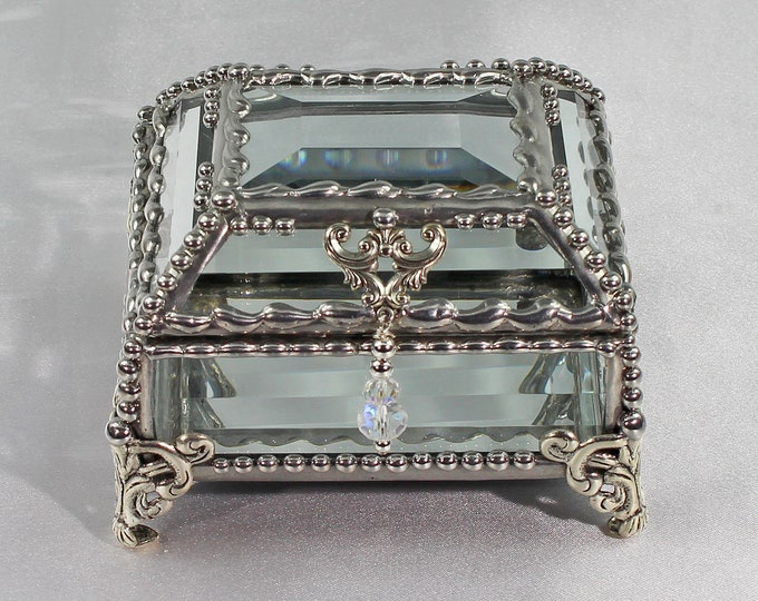 Crystal Box, Wedding Display, stained glass box, wedding ring presentation , Brides Maid Gift, jewelry box, , souvenir keepsake box,