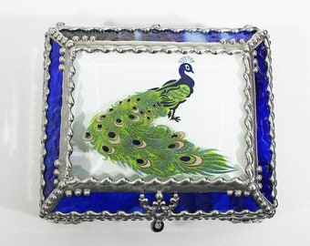 Peacock Hand Painted, Carved Glass, Jewelry Box, Glass Art, Beveled Glass, Made in USA
