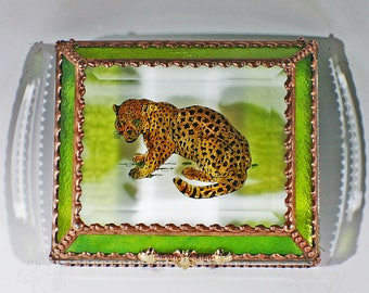 Leopard, Feline, Big Cat, Jewelry Box, Keepsake Box, African Wildlife, Stained Glass, Beveled Glass, Made in USA,