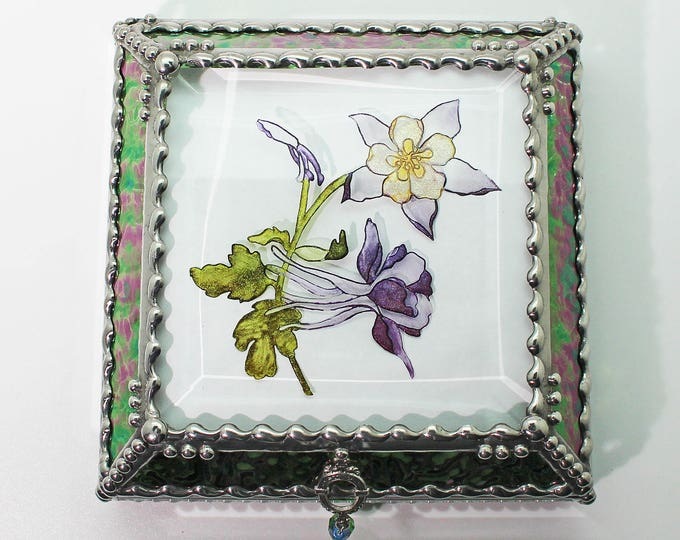 Etched, Columbines, Hand Painted, Stained Glass, Beveled Glass, Keepsake Box,Jewelry Box, Faberge Style, Made in USA