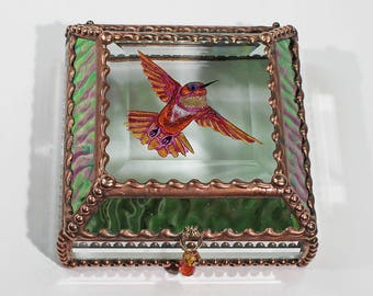 Etched, Hand Painted, Hummingbird, Stained Glass, Beveled Glass, Keepsake Box,Jewelry Box, Faberge Style, Made in USA