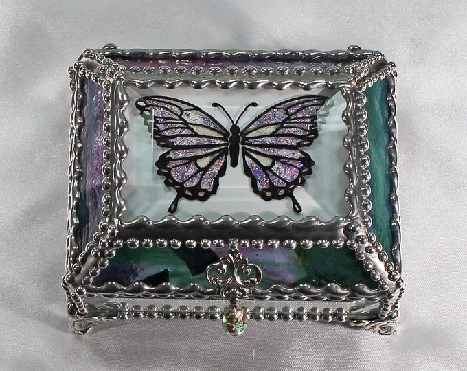 Butterfly Etched Hand Painted Glass Jewelry Box