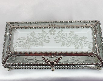 Victorian, Flower, Jewelry Box, Eyeglass case, Glass Art, Faberge Style, Beveled Glass, Stained Glass