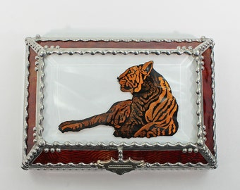 Etched, Hand Painted, Tiger, Stained Glass, Beveled Glass, Keepsake Box,Jewelry Box, Faberge Style, Made in USA