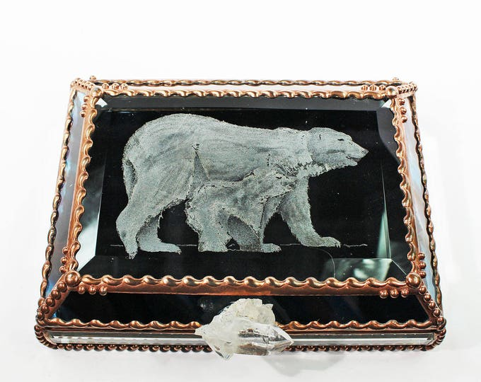 Etched, Hand Painted, Polar Bear, Stained Glass Box, Jewelry Box, Keepsake Box, Arctic, Bear, Made in USA